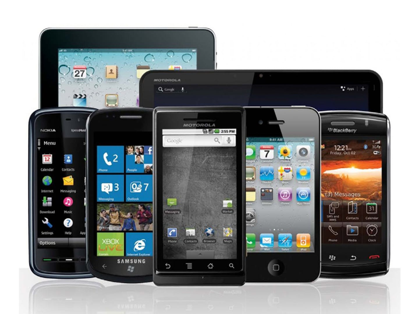 Image of smart phones and tablets.