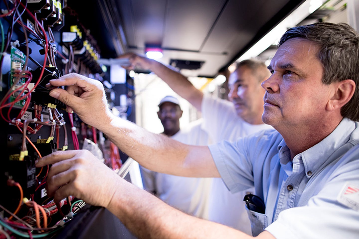 Mike Weaver, an EPB employees, works on a portion of the Smart Grid infrastructure to keep its functionality optimal.